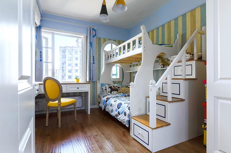90平北欧风格三居儿童房高低床