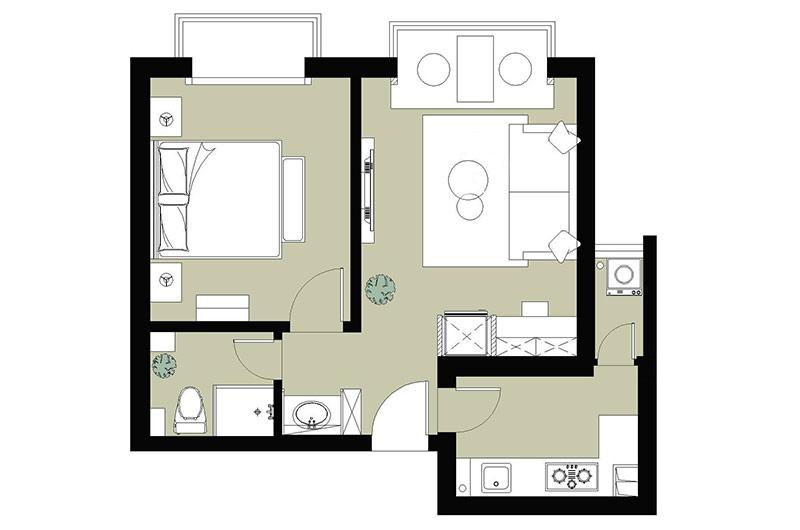 52平一室一厅装修平面布置图