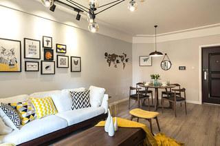 80平北欧风格三居布艺沙发图片