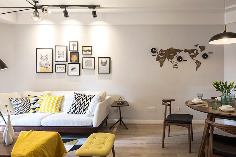 80平北欧风格三居沙发背景墙装修_齐家网装修效果图图片