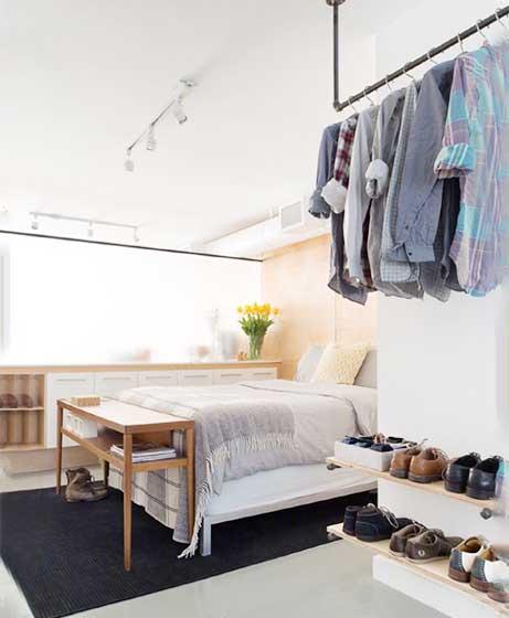 北欧风卧室衣柜收纳图片