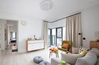 140平北欧风格复式楼客厅效果图