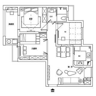 90㎡混搭风三居室布置平面图