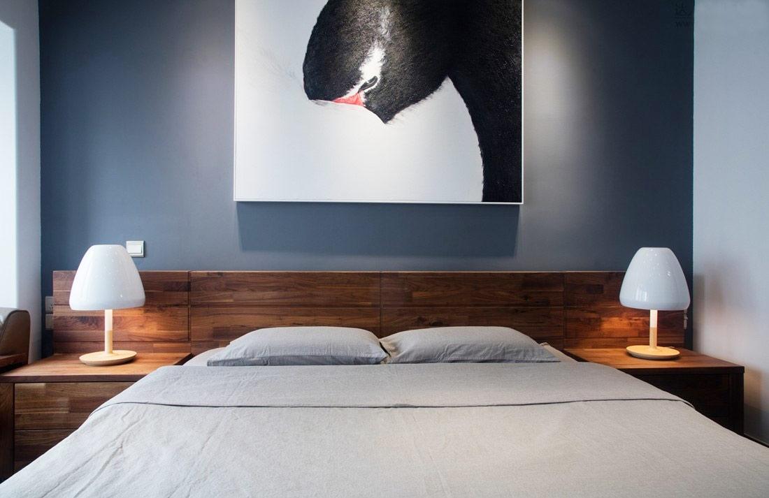 130平简约风格公寓卧室床品图片