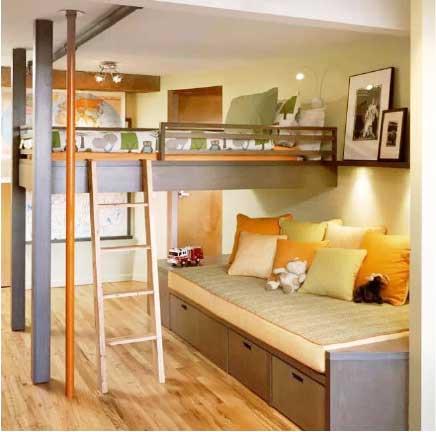 卧室高低床装修布置图