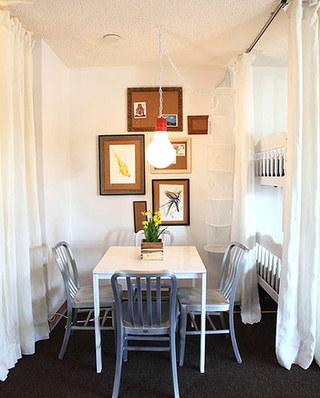 卧室餐厅布帘隔断设计