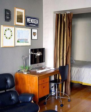 客厅卧室布帘软隔断装修