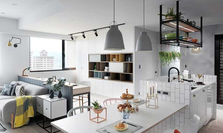 北欧风三居室公寓餐桌摆放图