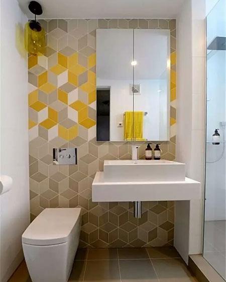 卫生间背景墙装修黄色瓷砖