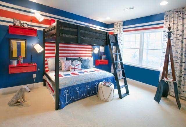 彩色儿童房高低床摆放图