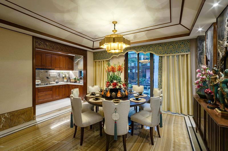 300平东南亚风格别墅餐厅装饰图