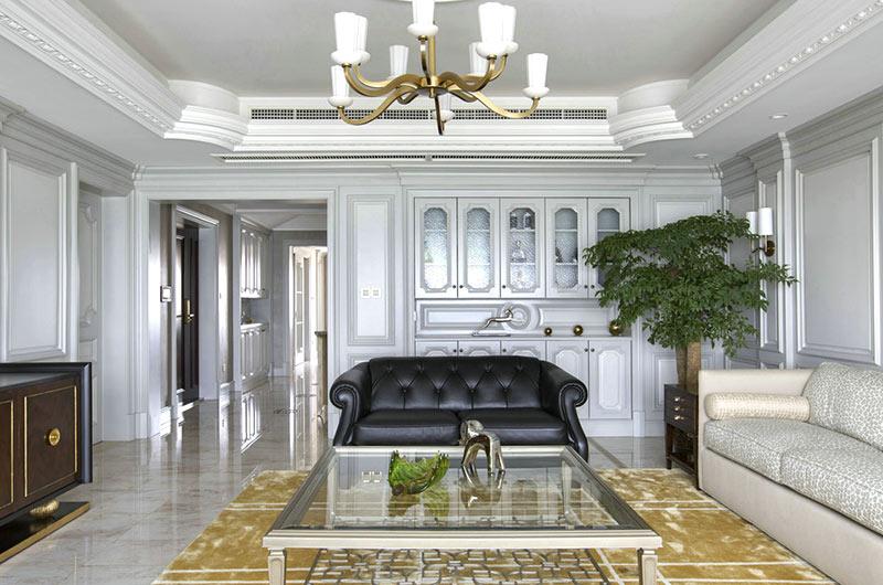 新古典风格复式楼真皮沙发图片