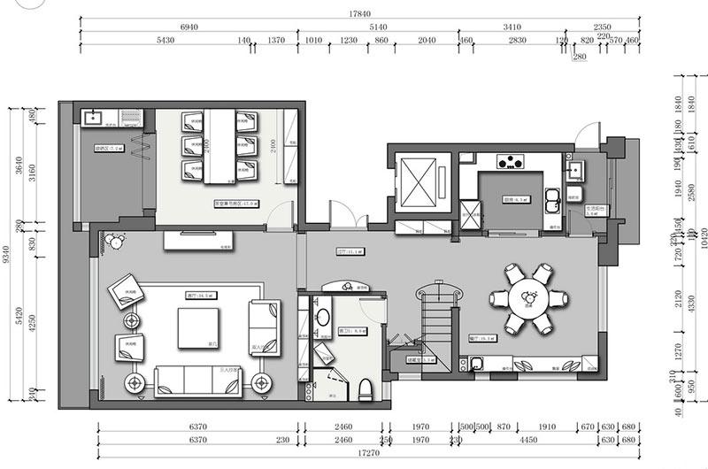 新古典风格复式楼平面设计图