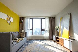 简约风格样板房客厅窗帘设计