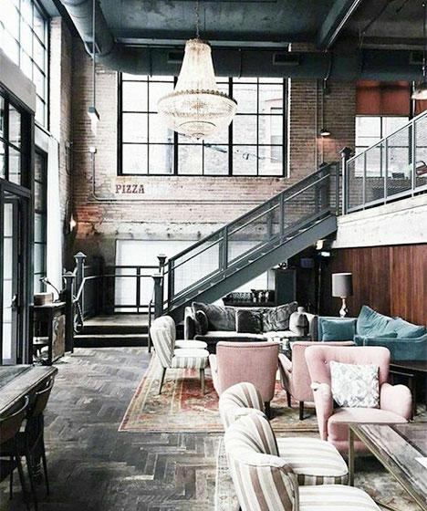 现代风loft公寓背景墙装修图