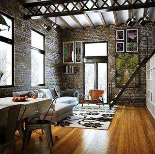 现代风loft公寓楼梯效果图