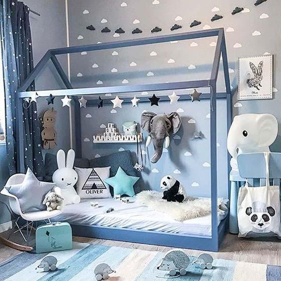 蓝色儿童房布置摆放图