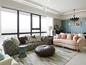 210平新古典风格三室两厅装修 美到骨子里