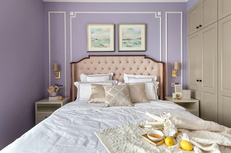 128平美式风格三居卧室床头软包