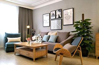 130平北欧风格婚房装修客厅设计