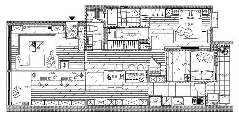美式风格一居室装修平面图