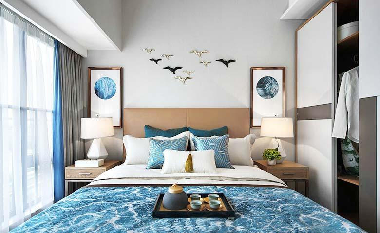 90㎡新中式两居室卧室装饰图