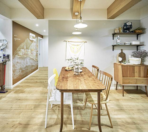 130㎡北欧风三居餐桌平面图