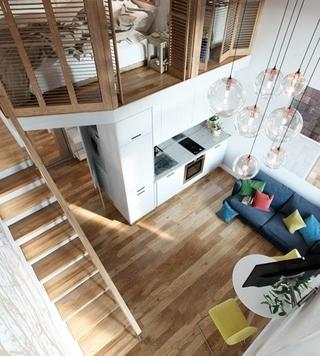40平时尚loft风格装修效果图 很有小别墅的感觉7/8
