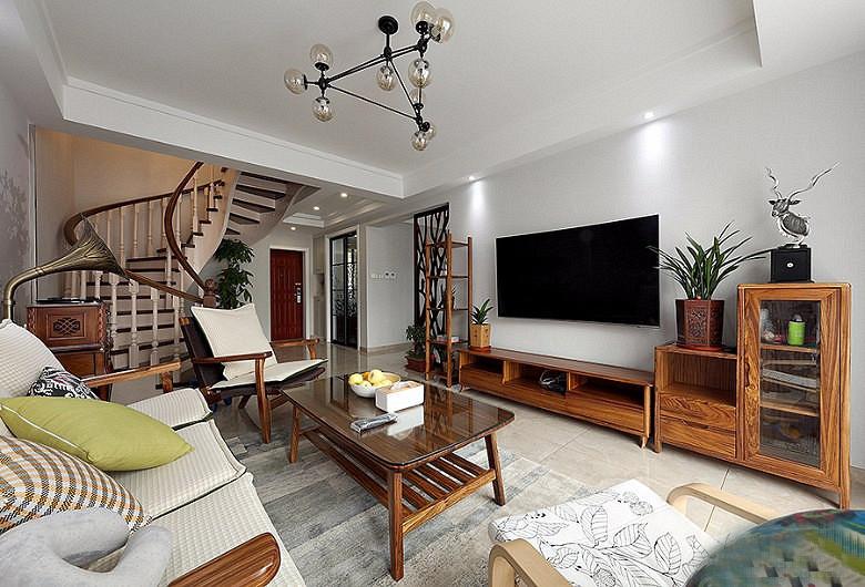 120平北欧风格装修复式美家原木风电视柜
