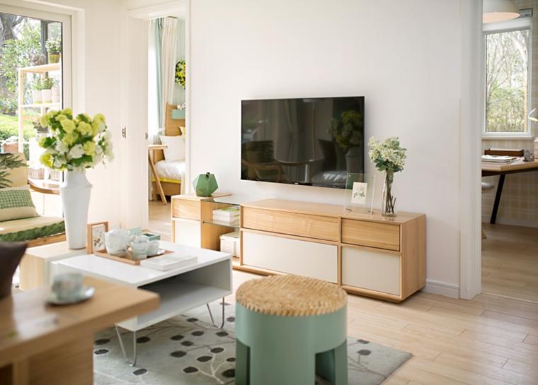 90平清新样板房装修电视柜图片
