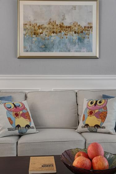 140平简约美式风格装修图布艺沙发