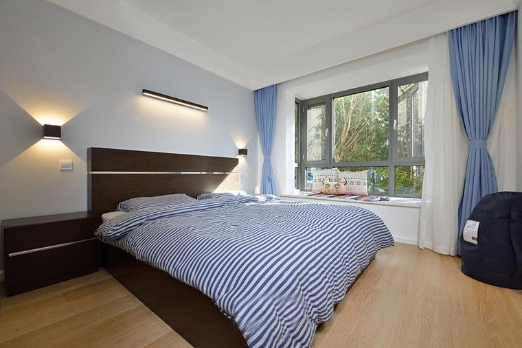 100平北欧风格两居室装修效果图主卧窗帘图片