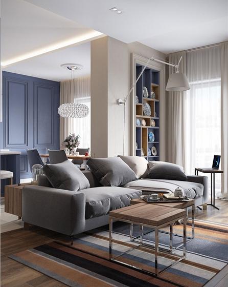 130平美式混搭四居室装修客厅布艺沙发