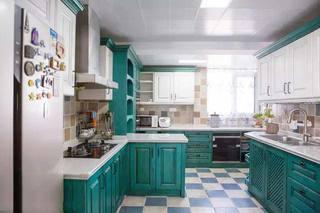 绿色系厨房设计实景图