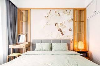 日式两居室卧室背景墙图片大全
