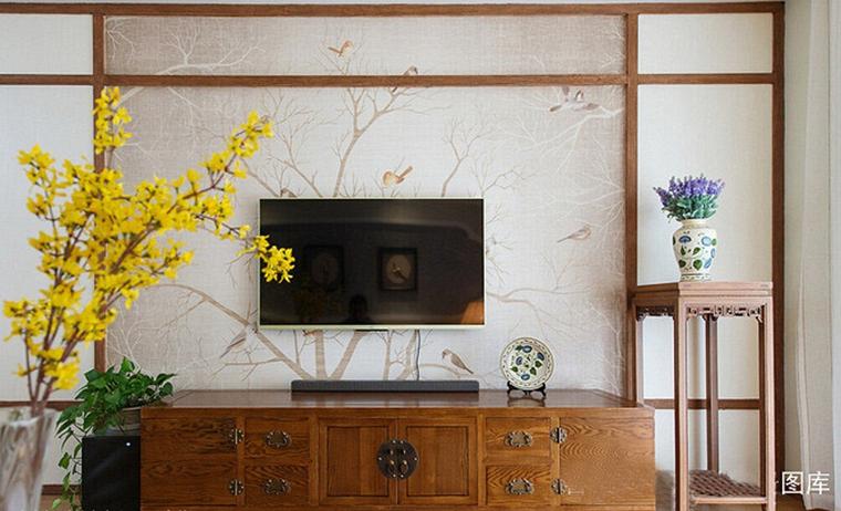 120平中式风格装修电视背景墙图片