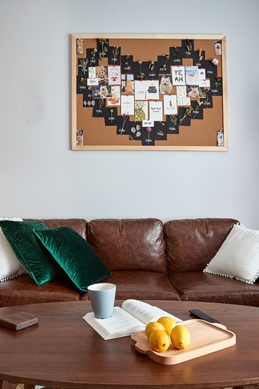 90平混搭风格装修真皮沙发图片