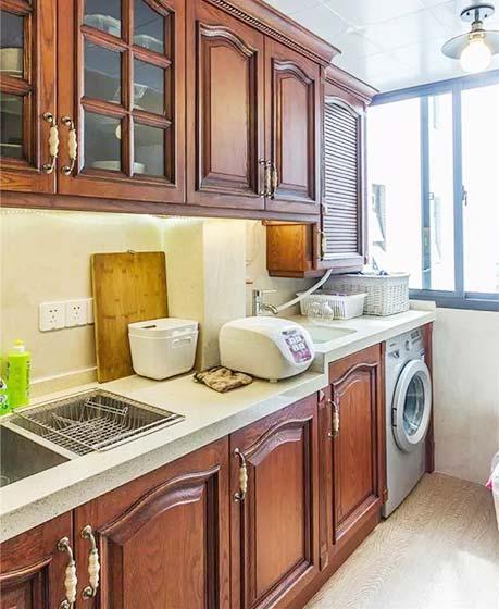 美式厨房洗衣机装修图
