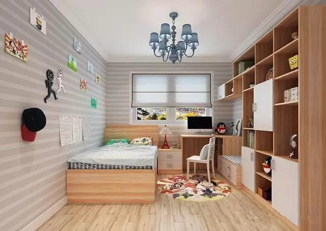再从榻榻米延伸出书柜和衣柜,书桌柜的转角利用整体流畅,衔接自然图片
