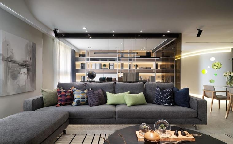 现代简约风格三居室装修布艺沙发图片