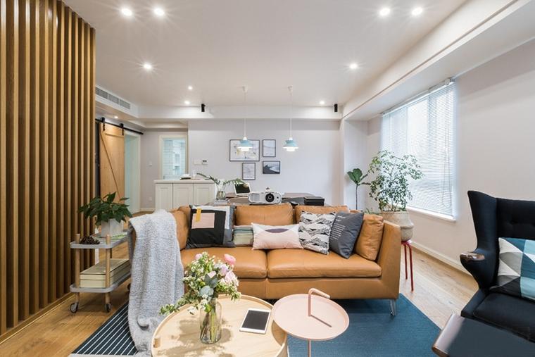 130平现代北欧风格装修客厅隔断图片