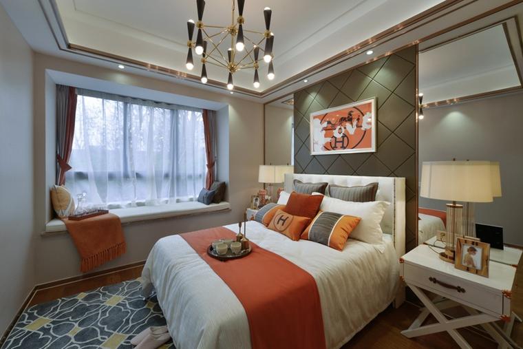 80平法式风格装修卧室效果图