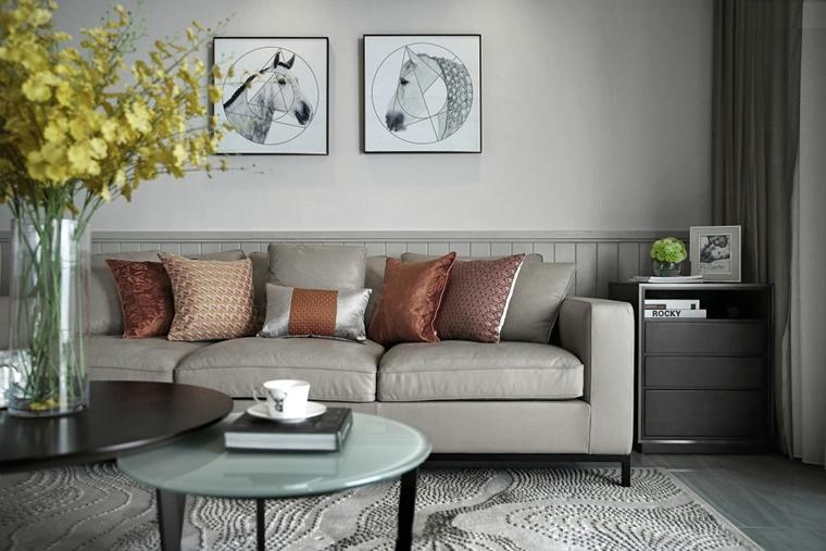 120平北欧风格装修客厅布艺沙发
