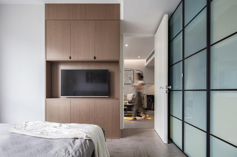 80平宜家风格装修卧室电视柜图片