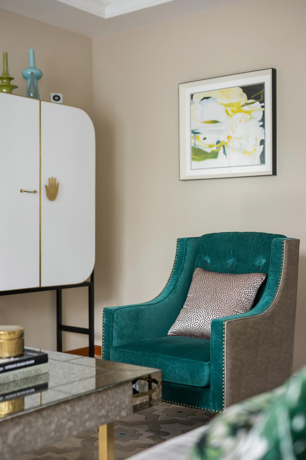 法式风格别墅装修样板间单人沙发图片