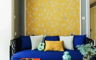 90平混搭风格两居室装修效果图沙发背景墙图片