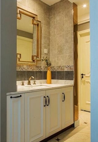 90平混搭风格两居室装修效果图洗漱台图片
