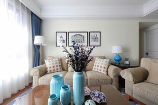 110平美式风格三居室客厅布艺沙发