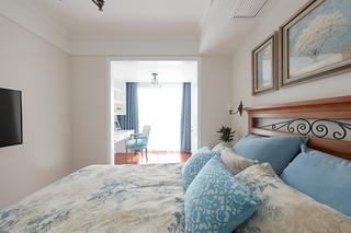 110平美式风格三居室卧室背景墙