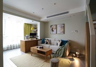 95平日式风格装修小户型客厅装潢图